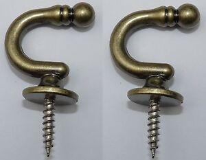 2 Wandhaken Metall messing antik Raffhaken Handtuchhaken Kleiderhaken Länge 38mm