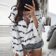 Womens Loose Long Bell Sleeve V Neck Striped Tops Chiffon Casual Blouse T Shirts Blue 3xl