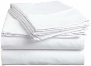 Flat/Top Sheet+Pillow Case - Egyptian Cotton Sheets 1000 TC White  Solid