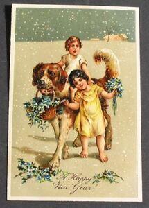 PFB Cute Children Girls Ride on Big St Bernard Dog in Snow New Year postcard