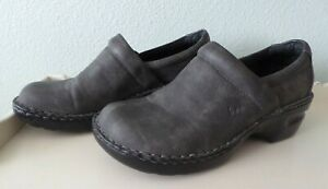 BOC Born Gray Womens Size 10 /42 CLOGS Slip on Mules Leather Comfort Nurse Shoes