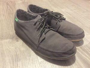 Men's Sanuk Canvas Shoes, Grey, Size 10