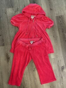 Juicy couture women hot pink cropped tracksuit set size med terrycloth preowned