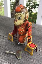 Vintage Marx Wind Up Tin Litho Tumbling Acrobat Circus Monkey With Chairs