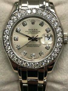 Rolex Ladies Pearlmaster 69299 Original Diamond Dial Bezel 18K White Gold