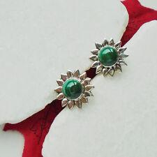 Malachit grün Stern Blüte edel Ohrringe, Ohrstecker, 925 Sterling Silber, neu