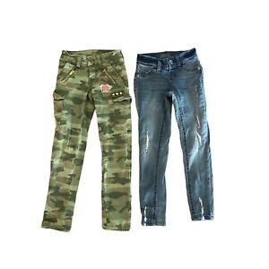 Justice Size 7 Slim  Camo Jeans Distressed Jegging & Mid Rise Super Skinny Of 2
