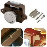 For Drawer Cupboard Motorhome Cabinet Caravan Latch Knob Push Button Lock Doors