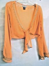 Belly Dance Sequin Semi Sheer Cropped Top Shirt cardigan Top Blouse Long Sleeves