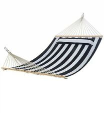Blue and white pillow-top hammock, 55 inches wide with spreader bar