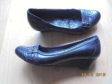 Damen Keilpumps Leder-Optik Keil Pumps 38 Wedges Keilabsatz 4cm Schuhe schwarz