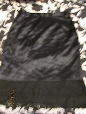 BLACK SILKY SKIRT WITH LACE ON THE BOTTOM SIZE 40 ABOUT A 12 BY JOOP FREE P+P
