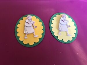 2 x Decoupage Pictures of Lady Bowler Theme Toppers