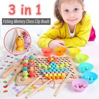 Children Wooden Clip Beads Teach Educational Chopsticks Spoon Toy Kids Game Gift