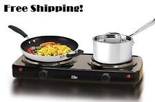 Electric Stove Top 2 Burners Range Black Hot Plate Portable Countertop Cooking