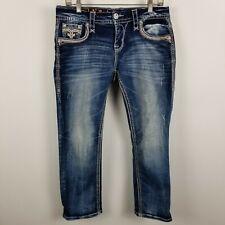 Rock Revival Felina Easy Crop Womens Dark Wash Distress Blue Jeans Size 28
