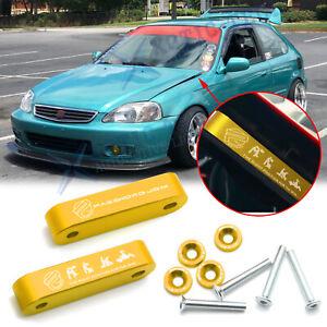 Gold JDM Billet Hood Vent Spacer Riser + Bolts Modification Kit For Acura Honda