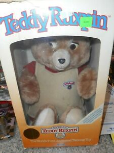 TEDDY RUXPIN Vtg 1988 Plush Bear Worlds Of Wonder with 3 tapes, book papers