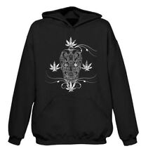 Cannabis Sugar Skull Tattoo Pouch Pocket Hoodie - Weed Spliff Marijuana