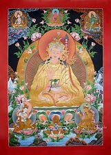 "32.5"" x 23.5"" Guru Rinpoche Tibetan Buddhist Thangka Scroll Painting From Nepal"