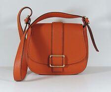 New Michael Kors orange Leather Maxine Large Saddle Bag Gold tone handbag $358
