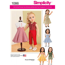 18 inch Doll Vintage Style Clothes Simplicity Sewing Pattern 1086