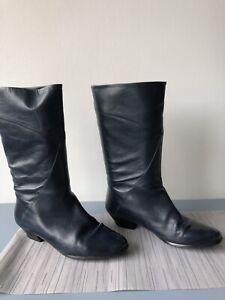 vintage Van Dal navy blue leather mid calf boots size UK6.5 EU39.5