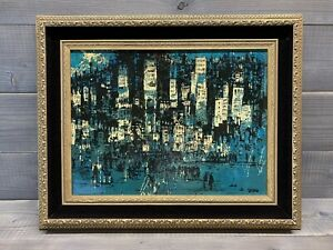 Vintage Mid Century Modern Abstract Painting - Cityscape -  Orig. Oil On Board