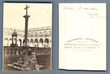Italie, Naples, Le cloître San Martino CDV vintage albumen carte de visite,  T