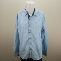 Mens Robert Graham White Blue Striped Long Sleeve Button Up Shirt XL