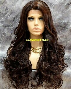 HUMAN HAIR BLEND LACE FRONT FULL WIG LONG WAVY LAYERED BROWN AUBURN MIX  #4.27
