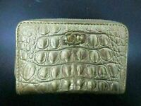Authentic CHANEL Coin Purse Wallet Champagne Gold Great 86853