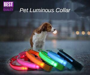 LED Adjustable Dog Pet Collar Blinking Night Flashing Light Up Glow Pets Safety