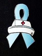Nurse Cap Pin Light Blue Awareness Ribbon Prostate Cancer Trisomy 18 Cause New