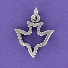 Dove Outline Charm Sterling Silver 925 for Bracelet White Bird Peace NEW Flying