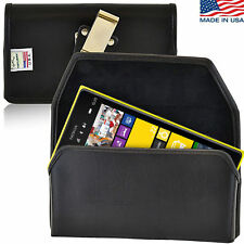 Turtleback Nokia Lumia 1520 Black Leather Pouch Holster Case, Metal Belt Clip