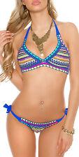 Boho aztec crochet bikini blue size 10 12 14 adjustable halter neck colourful
