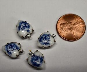 VINTAGE 4 BLUE ROSE GLASS HEART BEADS  • 10 X 12mm SILVERTONE HEART PENDANTS