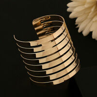 Vintage Men Women Gold Cuff Punk Bangle Wide Bracelet Wristband Fashion Jewelry