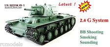 Heng Long RUSSIAN KV1 radio remote controlled tank 2.4G BB Shooting Smoking UK