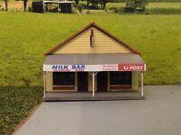 Ho scale building kit Milk Bar/Post Office laser cut kit.