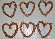 Small Heart Shape 4 1/2 Inch Grapevine Wreaths Lot of 6 Natural Hearts Valentine