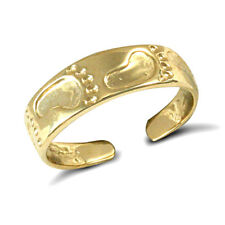 toe ring with a carved foot print Solid 9ct yellow gold hand finished flat