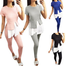 Womens Sports Tracksuits Ladies Ruffle Tops Pants Sets Lounge Wear Casual Outfit