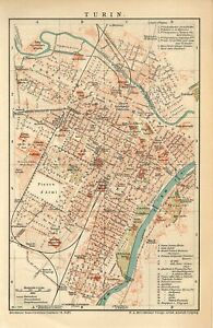 1899 ITALY TURIN CITY PLAN Antique Map dated