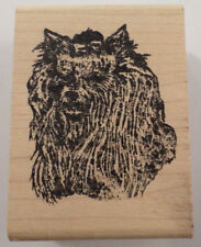 Stamp Affair Long Hair Yorkie Puppy Dog Wooden Rubber Stamp