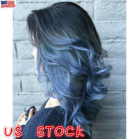 Heat Resistant Women Ombre Black to Blue Long Wavy Wigs Hair Synthetic Full Wig