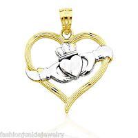 NEW Celtic Irish Crown Love Solid 10k Yellow Gold Claddagh Heart Pendant