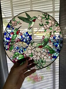 """Stained Glass Hummingbirds Butterfly Flowers 10"""" Round Suncatcher"""