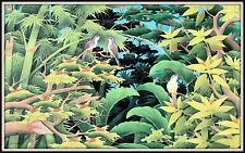 """Balinese Painting  """"Sparrows in the Bamboo""""  Incredible!  (33"""" High x 53"""" Wide)"""